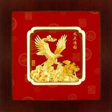 Asian Chinese 3D Gold Art Sculpture-Classic 2-Flying Eagle