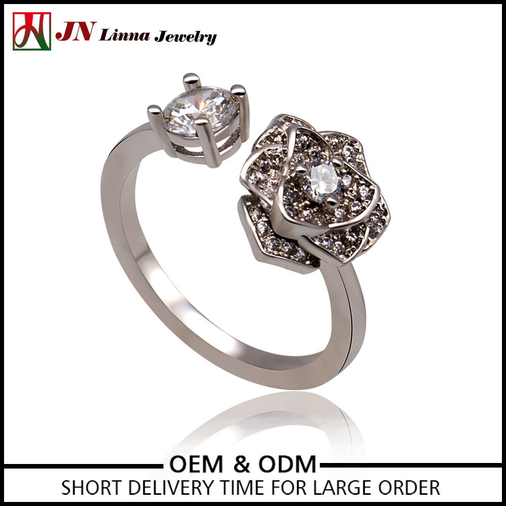 JN4037 European Style Platinum silver china Manufacturer flower with zirconia rings women jewelry open ring