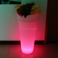 Waterproof IP54 PE plastic rechargeable LED illuminated outdoor large planters