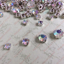 shinning Crystal AB color Loose crystal sew on rhinestone in Silver plating