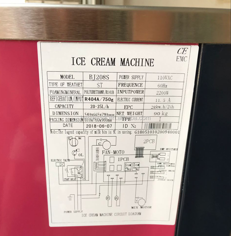 IS-BJ288C 20-25L/H Commercial Vertial Ice Cream Machine Electric Rainbow Soft Ice Cream Maker
