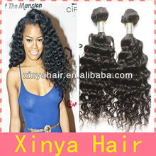 Natural Color Best Quality African Weft Yaki Deep wave 14 inch human hair weave extension
