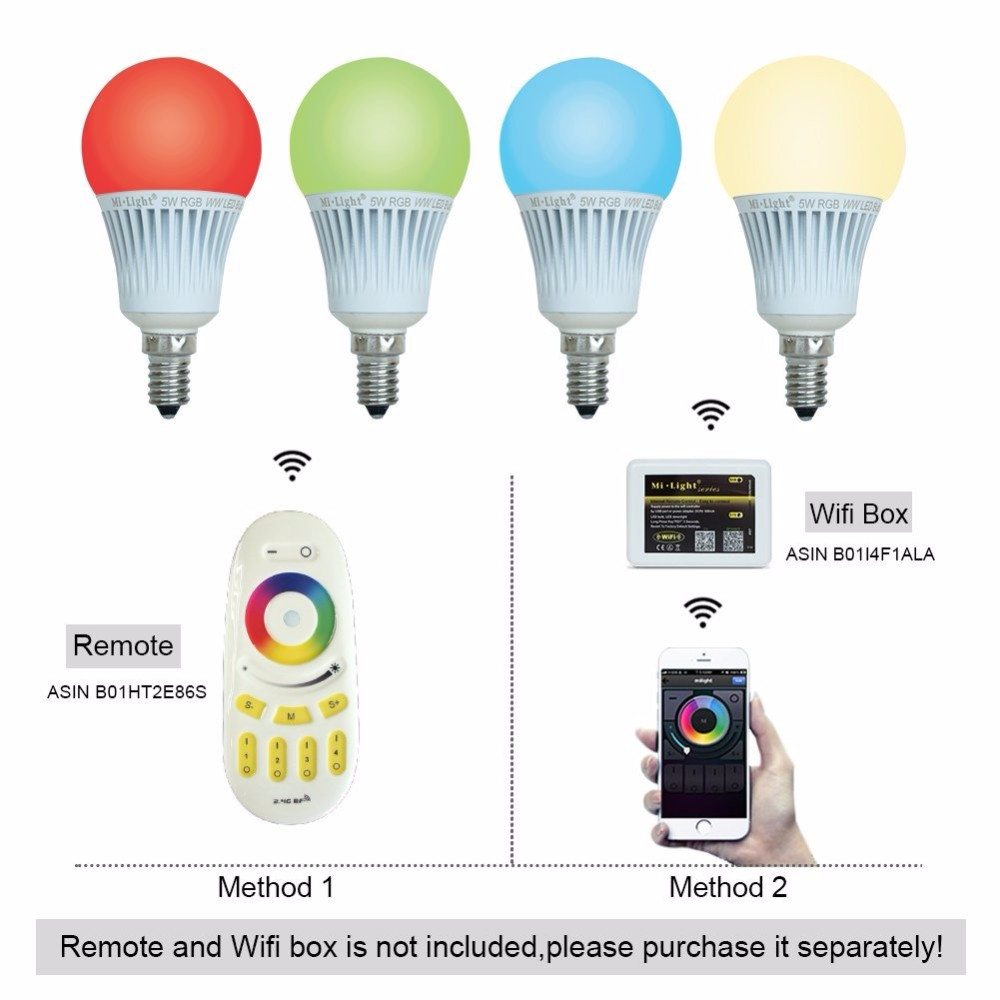 Milight Wifi 5W Led Bulb E14 RGBW Warm White Color Changing Dimmable AC 85-265V Remote Control And Smartphone Andriod IOS Iphone