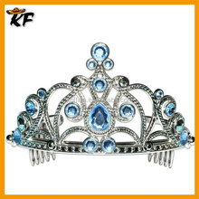 2015 wholesale plastic colored rhinestone blue tiaras and crowns