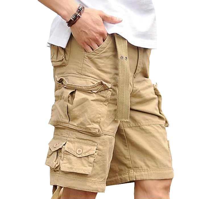 Mens Casual Cotton Baggy Shorts Working Overall Cargo Short Capri Pants