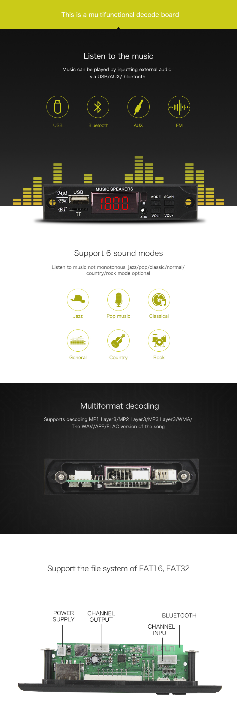High Quality Usb Mp3 Player Module,Low Pice Bluetooth Mp3 Module