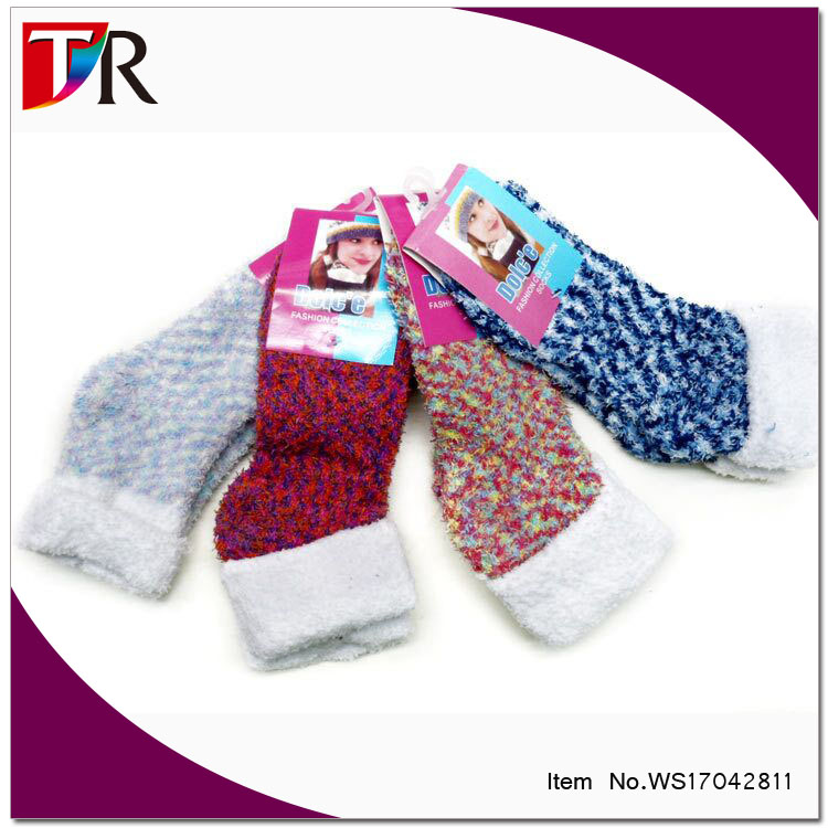custom warm girls turn cuff knitted fuzzy sleeping socks for sale