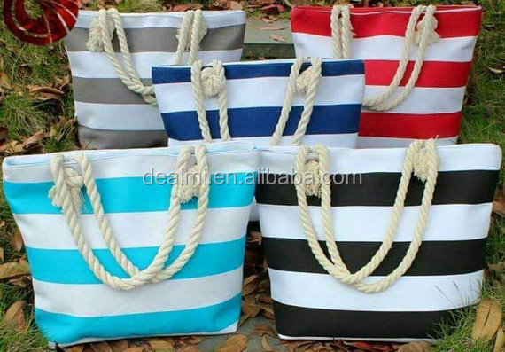 Wholesale Monogrammed Stripe Tote Beach Bag