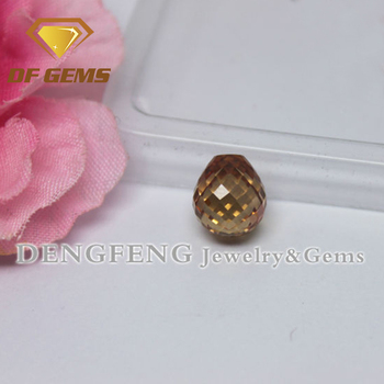 Dengfeng gems checker cut teardrop loose champagne cubic zirconia stone