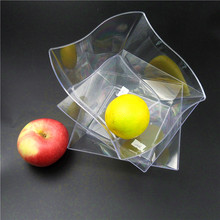 Clear Fancy Fruit 32oz Transparent Square Salad Bowl PS