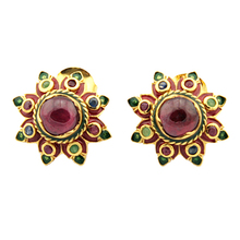 Floral Genuine Ruby 8 mm and Emerald 14k Plating on 925 Sterling Silver Vintage Anique Earrings , Great Gift for Women