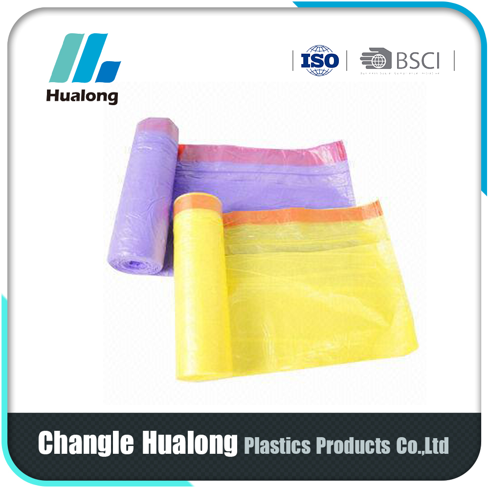 low density polyethylene LDPE and LLDPE plastic drawstring garbage bags