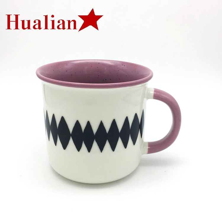 Hualian Factory 13oz Famous City in the World Image Decal Cups Handle Ceramic Coffee Promotional Milk Mug