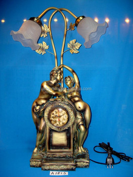 Table lamp&clock with resin base for home/hotel decoration