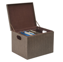Hanging File Box With Lid, Woven Rattan