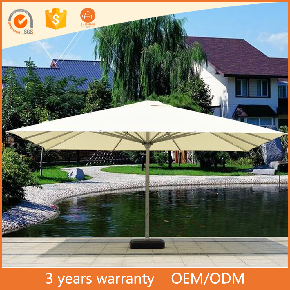 Factory UV Resistant Folding Solar Outdoor Large Beach Umbrella 6*6M Beige Color Chinese Garden Parasol