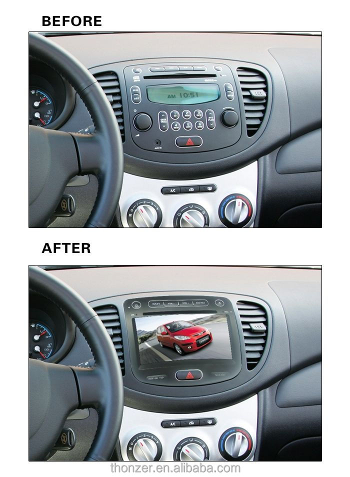 hyundai i10 car audio player with 3D UI +PIP+Touch+GPS+Ipod+BT