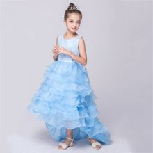 Girls Evening Dresses Blue Ball Gown Mesh Princess Party Dress Christmas Gifts for Girl New Year Girls Clothing LQ026
