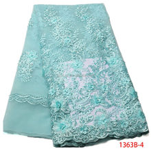 3d Lace Fabric 2017 High Quality Lace Aqua African Fabric Embroidery Beaded Lace For Wedding Bride