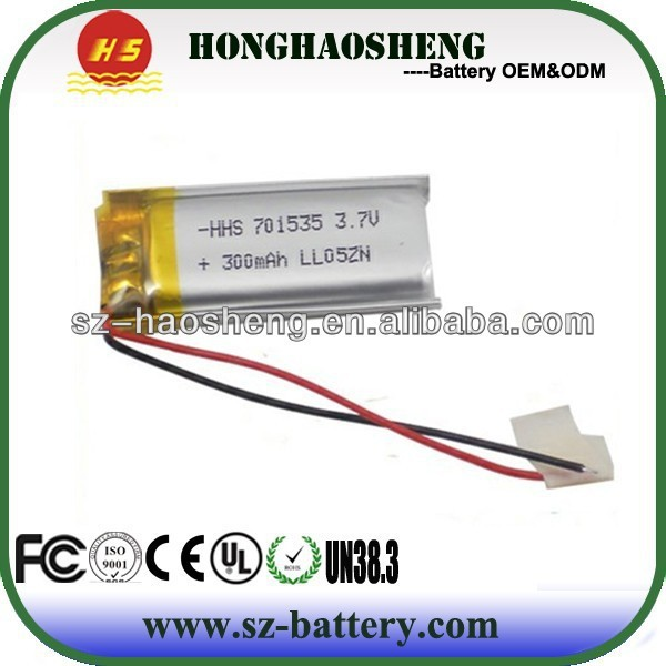 HHS-701535 3.7v 300mah rechargebale li-ion polymer battery