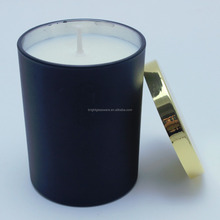 custom luxury design black glass candle jar with gold metal candle lids for scented candle use