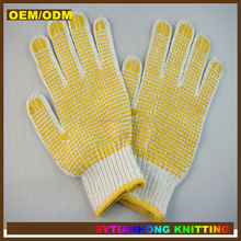 pvc dot palm cotton glove,garden gloves with hat gloves pvc dot