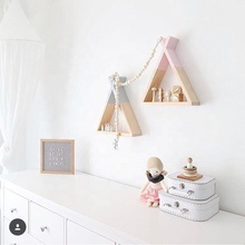 Modern Decorative Wooden Triangle wall shelf hanging storage Shelf Home Decor