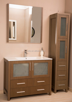 "36"" Bath Vanity oak with Quartz Marble Top side moirror bathroom cabinet"