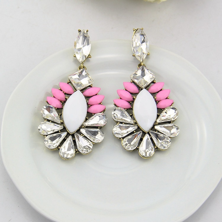 Wholesale elegant crystal bead drop earrings women costume earrings high fashion jewelry