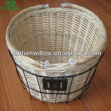 willow bicycle basket with metal frame