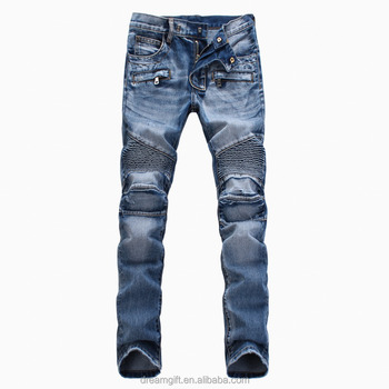 High quality motor jeans Mens biker Skinny pants for men slim elastic jeans denim Biker jeans in stock accept small order