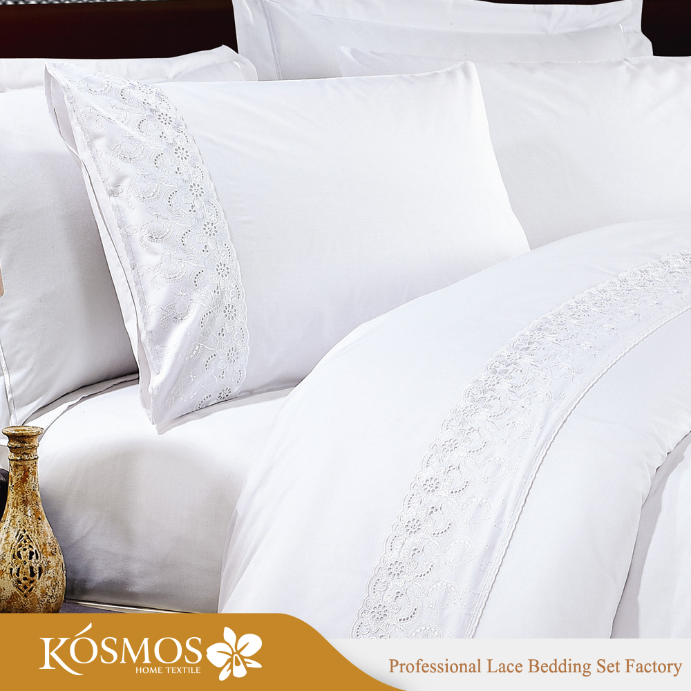 KOSMOS Bedding Polycotton Embroidery Lace Hand Work Bed Sheet Design