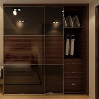 Cambodia Project Hotel Simple Bedroom Brown Built-ins Wardrobes