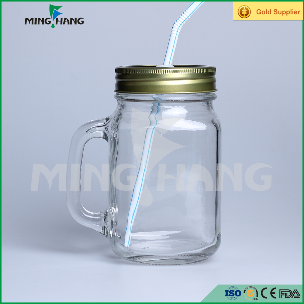 14oz transparent recycled drinking glass mason jars with handle