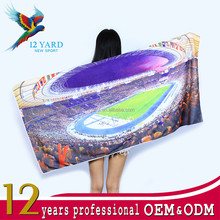 Super clear central stadium photo customized digital printed beach towel