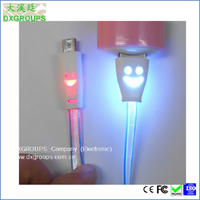 Smile Face Fluorescence Light Micro Usb b 5 Pin Connector For Samsung For Cell Phones; Short V8 Cable