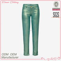 Girls olive green Leather Slimming Pants