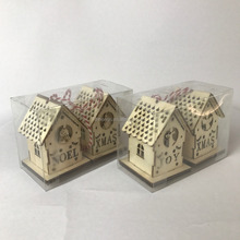 laser cut wooden christmas lighted houses decoration