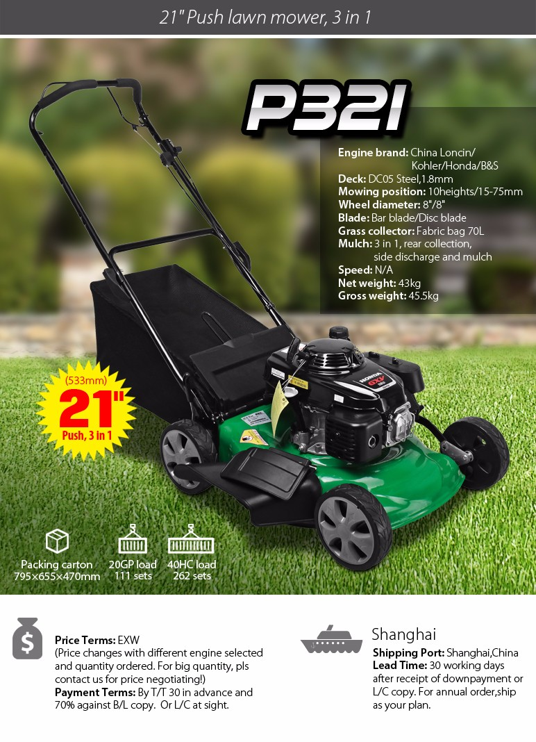 21 inch 3 in 1 push steel lawn mower with Loncin engine and 533mm cutting width