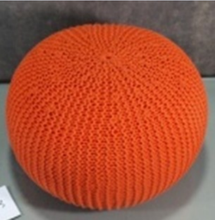 Store More Hand Knitted Cable Style Orange Floor Ottoman With Foam