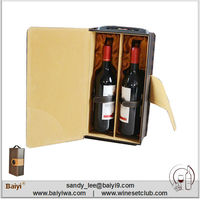 Promotional Portable Leather Wine Carrier for Two Bottles
