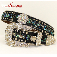 Fashion lady western black leather turquoise bead rockstud western belts wholesale