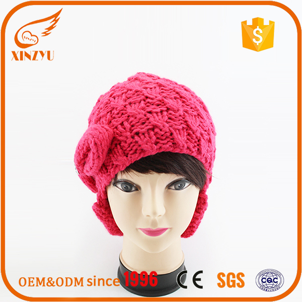 Knitted custom mei red girl ladies fashion 2016 handmade winter hat