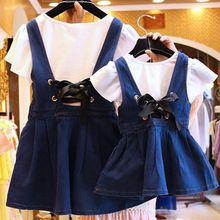 Kids Wearing Children's Dresses Girls' Cowboy Dresses Summer Kids Korean Kids Mothers children clothing
