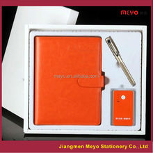 Hot sale powerbank pu leather notebook and metal pen usb custom made logo gift set
