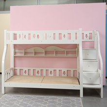 White color kids furniture wooden double decker bunk bed with storage drawer steps