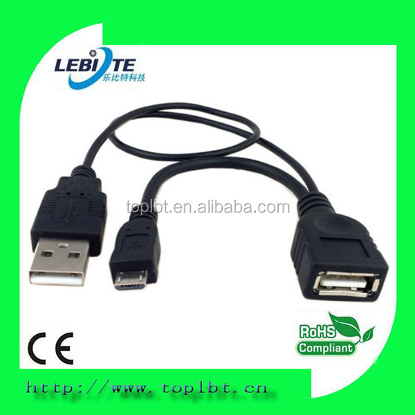 Micro USB Host OTG Cable With USB power for Samsung i9100 i9300 n7100 i9500 s4