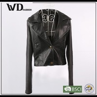 China supplier PU jacket, women leather jacket with button