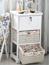 Wicker Basket Chest Drawers Cabinet Storage Units