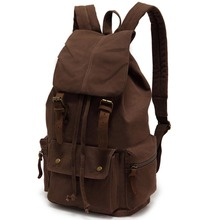 EcoCity Vintage Genuine Leather Canvas Backpack mountaineering Men and Women school Backpack Rucksack Student School Bag